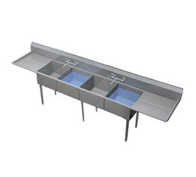 Duke 204-224 Sink, (4) 20 x 20 x 11.5-in D, 24-in L & R Drainboardboard, 10-in Splash, 16-ga Stainless
