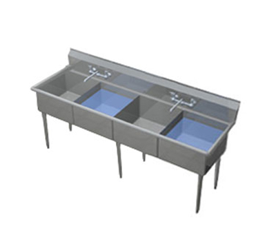 "Duke 164S-NDB 69.75"" 4-Compartment Sink w/ 16""L x 21""W Bowl, 14"" Deep"