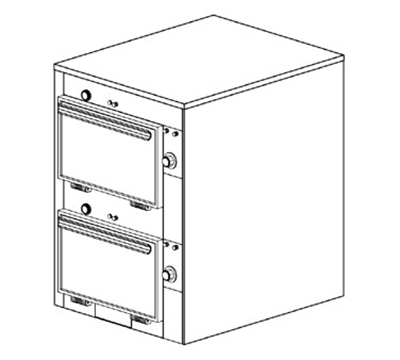 "Duke 2302P 2403 Pass Thru Heated Cabinet, 1-Thermostat Per 2-Compartment, 9X14X23.5"", 240/3 V"