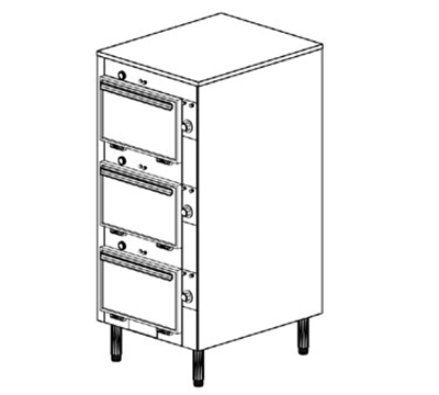 "Duke 2303P 2083 Pass Thru Heated Cabinet, 1-Thermostat Per 3-Compartment, 9X14X23.5"", 208/3 V"