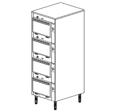 "Duke 2304P 120 Pass Thru Cabinet, 1-Thermostat Per 4-Compartment, Legs, 9X14X23.5"", 120 V"