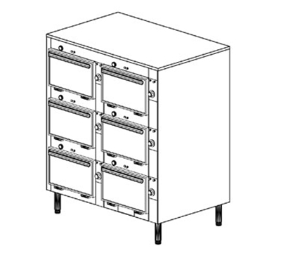 "Duke 2306P 2081 Pass Thru Heated Cabinet, (3) 12 x 20 x 2"" Pans Per Compartment, Leg, 208/1 V"