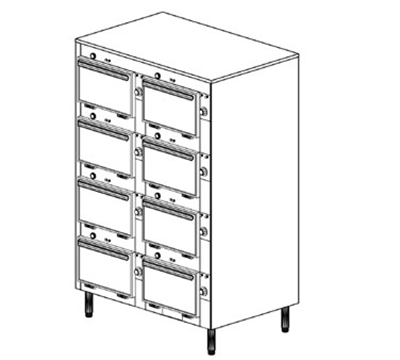 Duke 2308P 2083 Pass Thru Heated Cabinet, 1-Thermostat Per 8-Compartment, Legs, 208/3 V