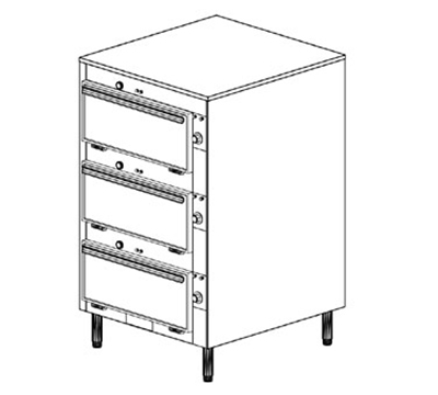 Duke 2453P 2083 Pass Thru Heated Cabinet, 1-Thermostat Per 2-Compartment, Legs, 208/3 V