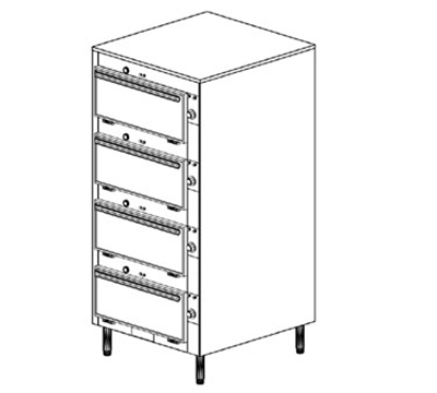Duke 2454P 2081 Pass Thru Heated Cabinet, Individual Thermostat Control, Legs, 208/1 V