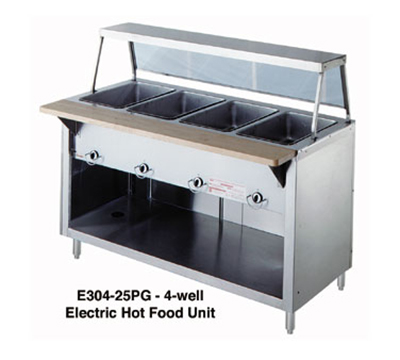 "Duke 304-25SS LP 60"" Hot Food Unit w/ 4-Dry Heat Wells, Stainless Top, Body & Shelf, LP"