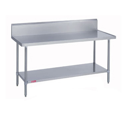 "Duke 314-30132-10R 132"" 14-ga Work Table w/ Undershelf & 300-Series Stainless Marine Top"