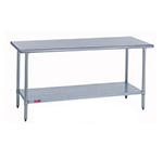 "Duke 316S-30132 132"" 16-ga Work Table w/ Undershelf & 300-Series Stainless Flat Top"
