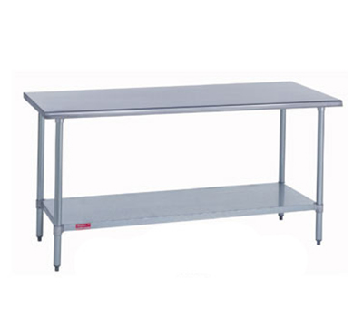 "Duke 314S-36120 120"" 14-ga Work Table w/ Undershelf & 300-Series Stainless Flat Top"