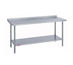 "Duke 314-24132-2R 132"" 14-ga Work Table w/ Undershelf & 300-Series Stainless Top, 1.125"" Backsplash"