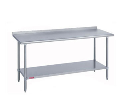"Duke 314S-3696-2R 96"" 14-ga Work Table w/ Undershelf & 300-Series Stainless Top, 1.125"" Backsplash"