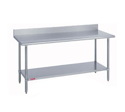 "Duke 314-36132-5R 132"" 14-ga Work Table w/ Undershelf & 300-Series Stainless Top, 5"" Backsplash"