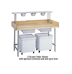 "Duke 336 72"" Maple Top Bakers Table w/ 5"" Splash & Open Base, 30""D"