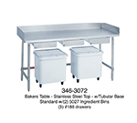 "Duke 345 60"" Stainless Steel Top Bakers Table w/ 5"" Splash & Open Base, 30""D"