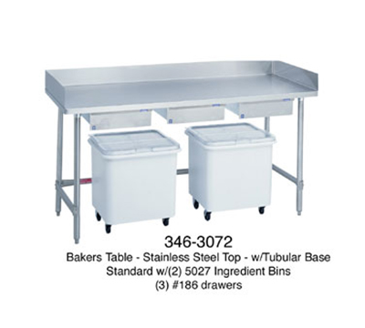 "Duke 346 72"" Stainless Steel Top Bakers Table w/ 5"" Splash & Open Base, 30""D"