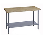 "Duke 7122A-3084 84"" Work Table w/ Stainless Undershelf & Legs, Hardwood Top, 30"" Deep"