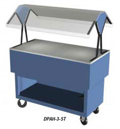 "Duke DPAH-3-ST 217101 44.37"" Solid Top Portable Buffet w/ Sliding Doors, Canopy, Semi-Gloss Black"