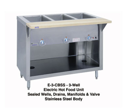 "Duke E-3-CBSS 2081 46"" Steamtable w/ Stainless Body, Undershelf & 3-Sealed Wells, 208/1 V"