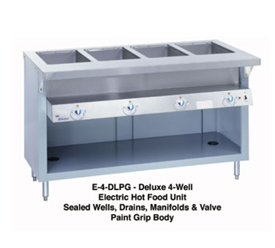 "Duke E-4-DLSS 2081 60"" Steamtable w/ Drains & 4-Stainless Sealed Wells, 34"" Wide, 208/1 V"