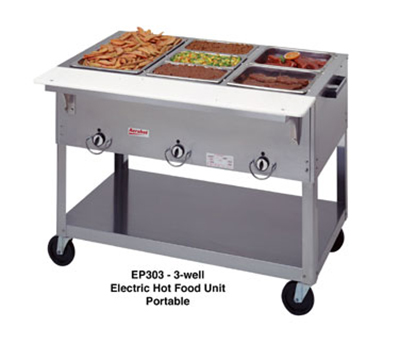 Duke EP302 2081 Portable Steamtable w/ 2-Exposed Hot Wells & Carving Board, 208/1 V