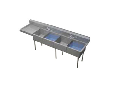 Duke JS3A24 Jumbo Sink, (3) Compartment, 24-in L & R Drainboard, 24 x 30 x 14.5-in