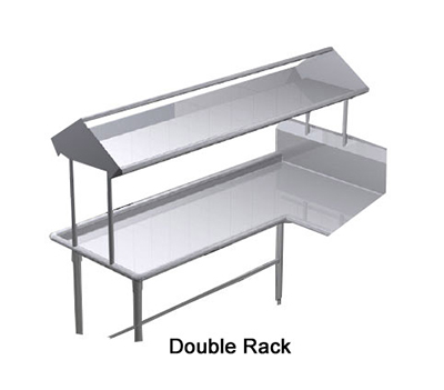 "Duke SDD-96 96"" Table Mounted Double Service Rack Shelf w/ Drain, 16-ga Stainless"