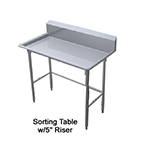 "Duke STW-72 72"" Sorting Table w/ Splash, Stainless Top, Legs & Feet"