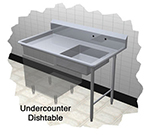 Duke UCD-48L 48-in Dishtable w/ Scrap Sink on Left of Dish Machine