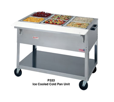 "Duke P334 58-3/8"" Portable Ice Cooled Pan Unit w/ Carving Board & Fixed Brackets"