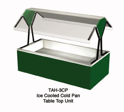 "Duke TAH-3-CP 217101 44-3/8"" Cold Food Table Top Buffet w/ (3) Cold Pan, Semi-Gloss Black"