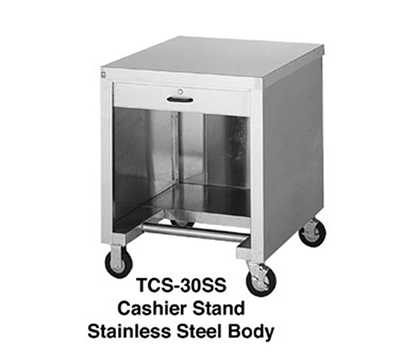 "Duke TCS-30SS 30"" Mobile Cashier Stand w/ Stainless Top, Body, Undershelf & Foot Rest"