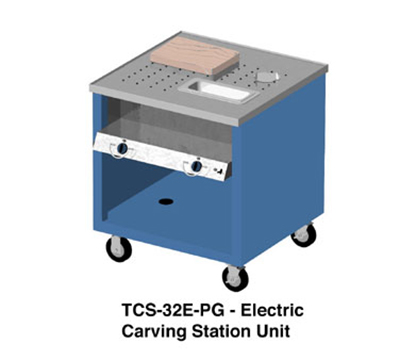 Duke TCS-32E-PG 2401 Mobile Carving Station w/ 2-Heat Wells, Paint Grip Body & Undershelf, 240/1 V