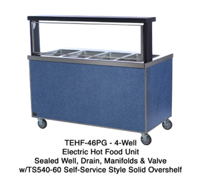 "Duke TEHF-88PG 2081 88"" Mobile Hot Food Unit w/ 1-Valve, Paint Grip Body & Undershelf, 208/1 V"