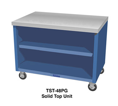 "Duke TST-18SS 18"" Mobile Solid Top Unit, Stainless Top, Paint Grip Body & Undershelf"