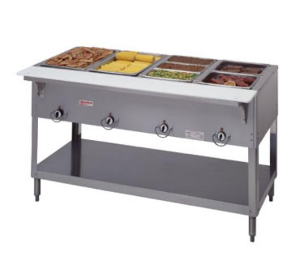Duke 304 NG Aerohot Steamtable Hot Food Unit, 4 Wells & Carving Board, NG