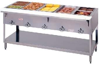 Duke 305 NG Aerohot Steamtable Hot Food Unit, 5 Wells & Carving Board, NG
