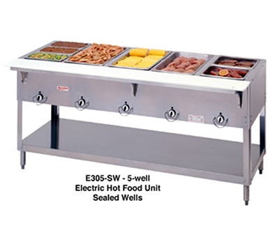 "Duke E305SW 72.37"" Steamtable Hot Food Unit w/ 5-Well & Infinite Control, 120 V"