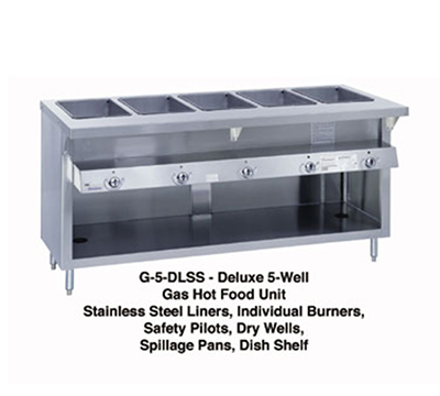 "Duke G-2-DLSS 34"" Steamtable Unit w/ 2-Well & 2-Water Pans, All Stainless, NG"