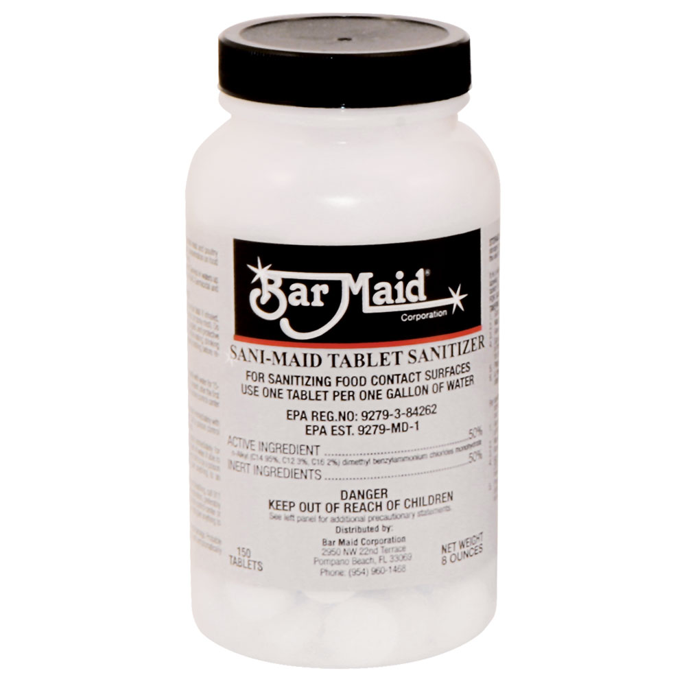 Bar Maid DIS-201 Sanitizer, Quarternary Tablets, 150 Tablets per Bottle, 6 Bottles per Case