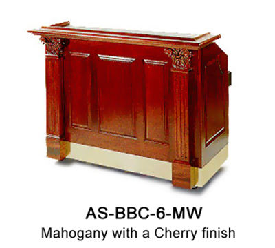 "FWE AS-BBC-6-MW Portable Bar 72"" L, 60lb Capacity Ice Bin, Laminated Bar Top, Stainless Int."