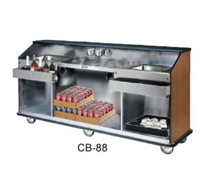 FWE - Food Warming Equipment CB-88 793838 Conventional Portable Bar, 98in L, Wraparound Bumper, New Age Oak.