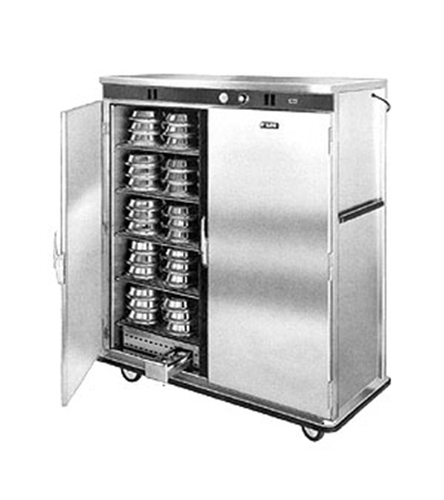 "FWE E-1500-XL 120 E-Series Banquet Cart, 2-Door, 150-Plate Cap., 12.375"" Max, Stainless, 120V"