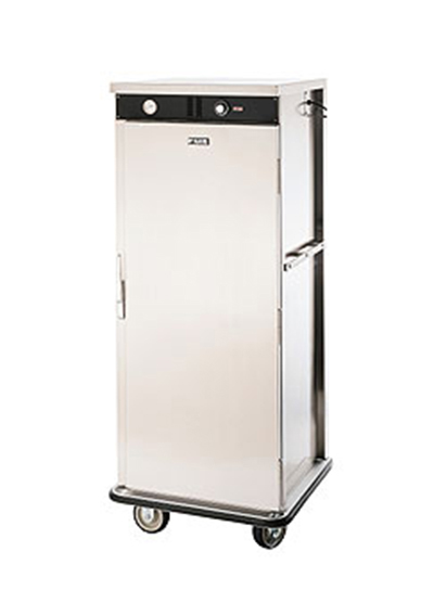 FWE E-480-XL220 E-Series Banquet Cart, 1-Door, 48-Plate Cap., 12.375-in Max, Stainless, 220/1V