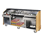 "FWE ES-CB-8-BW Executive Series Portable Bar, 96"" L, 60lb Cap. Ice Bin, Glass Storage."