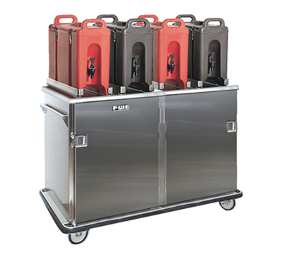 FWE ETC-1240-20 Patient Tray Cart, 2-Door, 12IN Wide, 20 Tray Capacity, Full Bumper, Stainless.