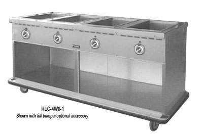 FWE HLC-2W6-1-DRN 120 Handy Line Serving Cabinet w/ 2-Wells in Top, Mobile, Open Cabinet Base, 120V