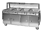 FWE HLC-4W6-7H-28DRN 120 Handy Line Serving Cabinet w/ 4-Wells in Top, Mobile, 4 Compartment, 120V