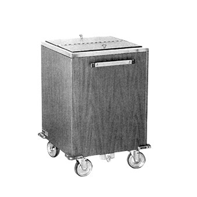 FWE IC-200 788860 Mobile Ice Bin w/ 200lb Capacity, Insulated, Stainless, Golden Oak