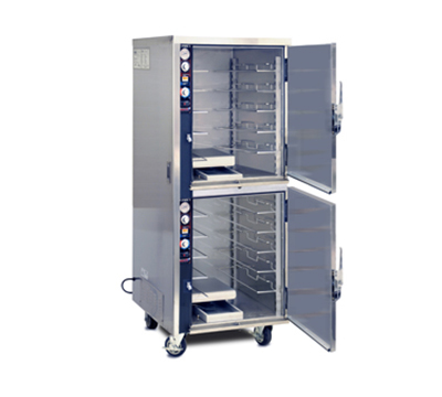 FWE MTU-5-5 120 Mobile Heated Cabinet w/ Split Cavity, 10-Pair Rod Slides, Stainless, 120V