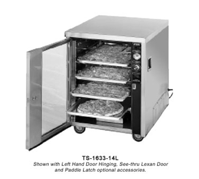 FWE TS-1633-14 120 Mobile Heated Pizza Cabinet w/ 1-Shelf, 14-Box/Pan Cap., Stainless, 120V